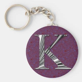 Letter K Monogram Basic Round Button Key Ring