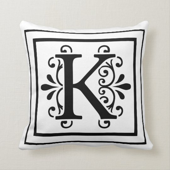 Letter K Monogram Throw Pillow