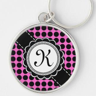 Letter K Sweet Sixteen Monogram Retro Pink Black Keychain