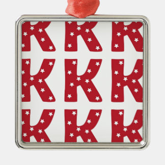 Letter K - White Stars on Dark Red Christmas Ornament