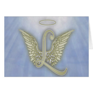 Letter L Angel Monogram Card