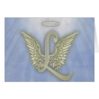 Letter L Angel Monogram Greeting Card