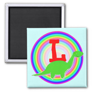 Letter L Green Dinosaur Diplodocus Fridge Magnet