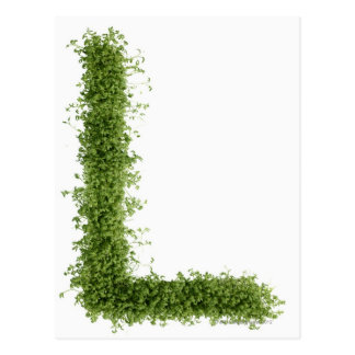 Letter 'L' in cress on white background, Postcard