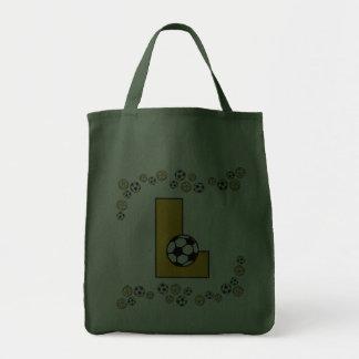 Letter L in Soccer Gold Monogram Tote Canvas Bag