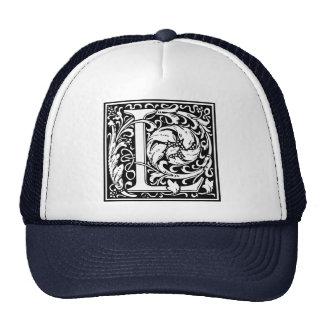 Letter L Medieval Monogram Vintage Initial Trucker Hat