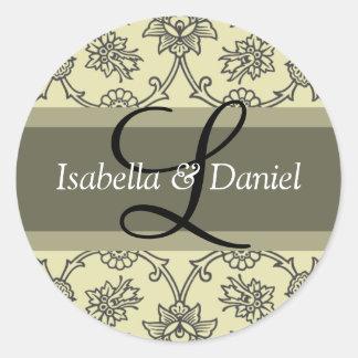 Letter L Monograms For Wedding Invitation Seals Round Sticker