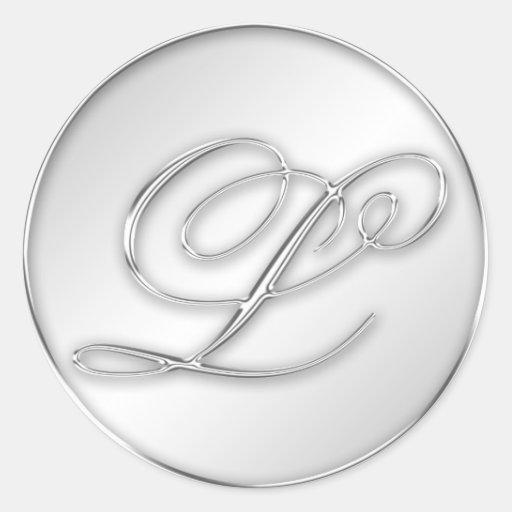 Letter L script initial faux silver monogram Round Stickers