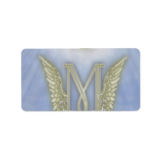 Letter M Angel Monogram Address Label