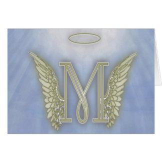 Letter M Angel Monogram Card