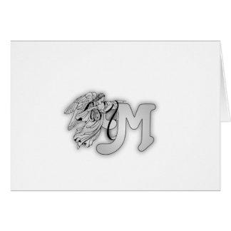 Letter M Angel Monogram Initial Greeting Card