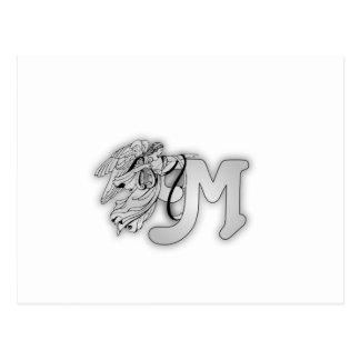 Letter M Angel Monogram Initial Postcard