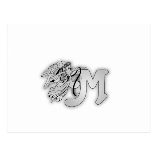 Letter M Angel Monogram Initial Post Cards