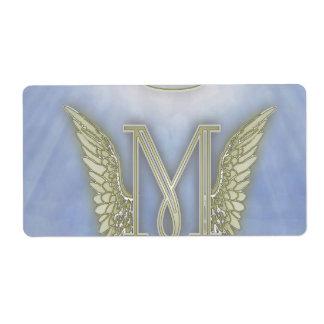 Letter M Angel Monogram Shipping Label