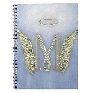 Letter M Angel Monogram Spiral Note Book