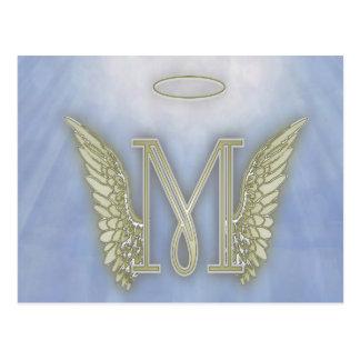 Letter M Angel Monogram Postcard