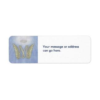 Letter M Angel Monogram Return Address Label