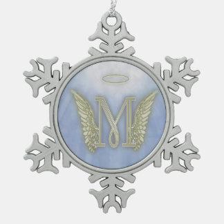 Letter M Angel Monogram Snowflake Pewter Christmas Ornament