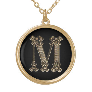 Letter M Circle Necklace