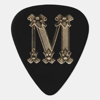 Letter M Golden Initial Monogram Guitar Pick