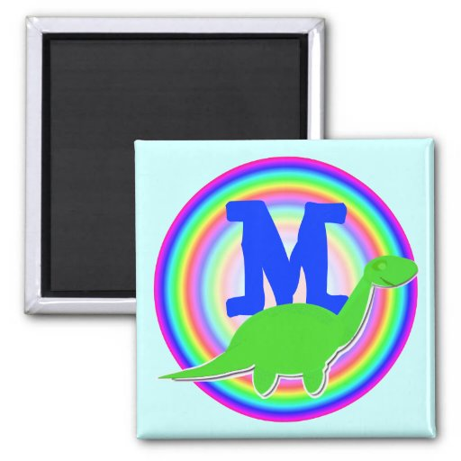 Letter M Green Dinosaur Diplodocus Fridge Magnet