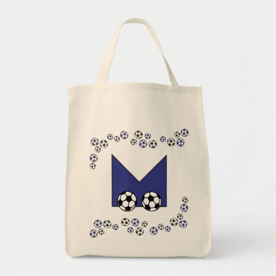 Letter M in Soccer Blue Monogram Tote