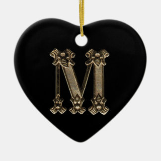 Letter M Initial Heart Shaped Ornament