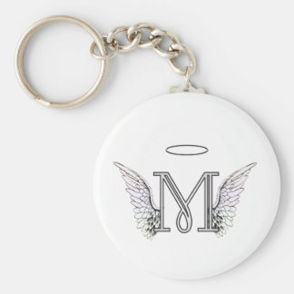 Letter M Initial Monogram with Angel Wings & Halo Basic Round Button Key Ring