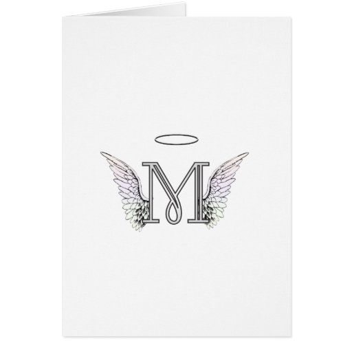 Letter M Initial Monogram with Angel Wings & Halo Card