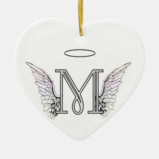 Halo Christmas Ornament.Letter M Initial Monogram With Angel Wings Halo Christmas Ornament