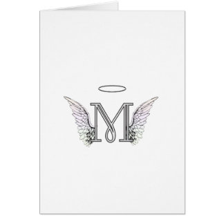Letter M Initial Monogram with Angel Wings & Halo Greeting Card