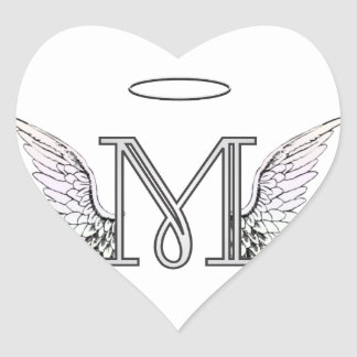 Letter M Initial Monogram with Angel Wings & Halo Heart Sticker