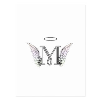 Letter M Initial Monogram with Angel Wings & Halo Postcard