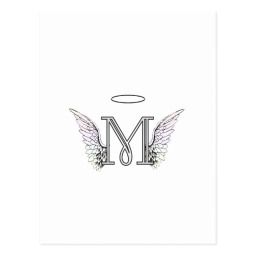 Letter M Initial Monogram with Angel Wings & Halo Postcards