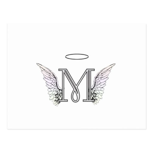 Letter M Initial Monogram with Angel Wings & Halo Post Card