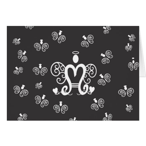 Letter M Initial Monogram with Angels Greeting Cards