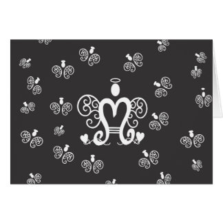 Letter M Initial Monogram with Angels Greeting Card