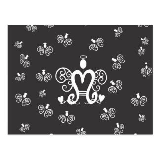 Letter M Initial Monogram with Angels Postcard