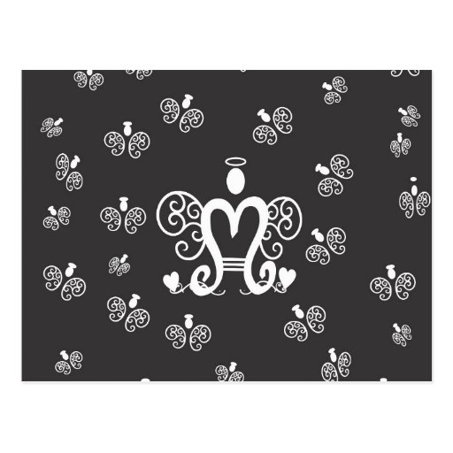 Letter M Initial Monogram with Angels Post Card