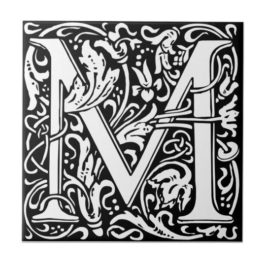 Letter M Mediaeval Monogram Vintage Initial Tile