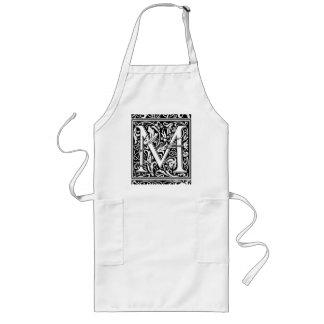Letter M Medieval Monogram Vintage Initial Long Apron