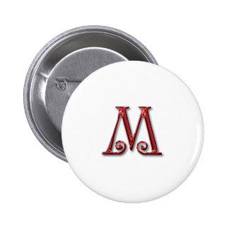 Letter M Monogram 6 Cm Round Badge