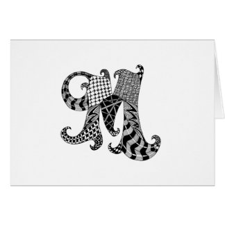 Letter M Monogram in Black and White Card