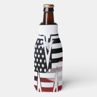 Letter M Monogram Initial Patriotic USA Flag Bottle Cooler