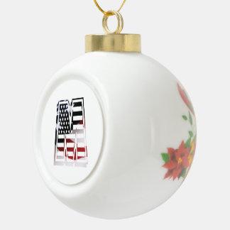 Letter M Monogram Initial Patriotic USA Flag Ceramic Ball Christmas Ornament