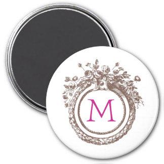 Letter M Monogram Large, 3 Inch Round Magnet