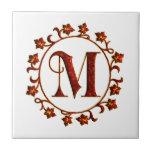 Letter M Monogram Red Leaves