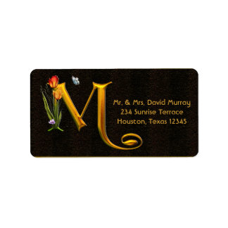 Letter M Monogram Tulips Butterfly Address Labels