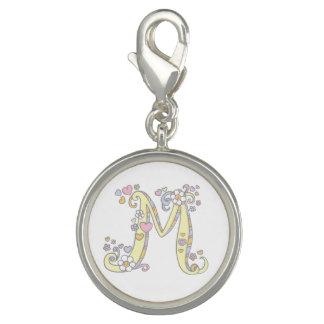 Letter M monogram whimsical charm