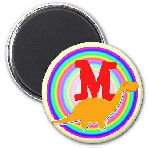 Letter M Orange Dinosaur Diplodocus Fridge Magnet